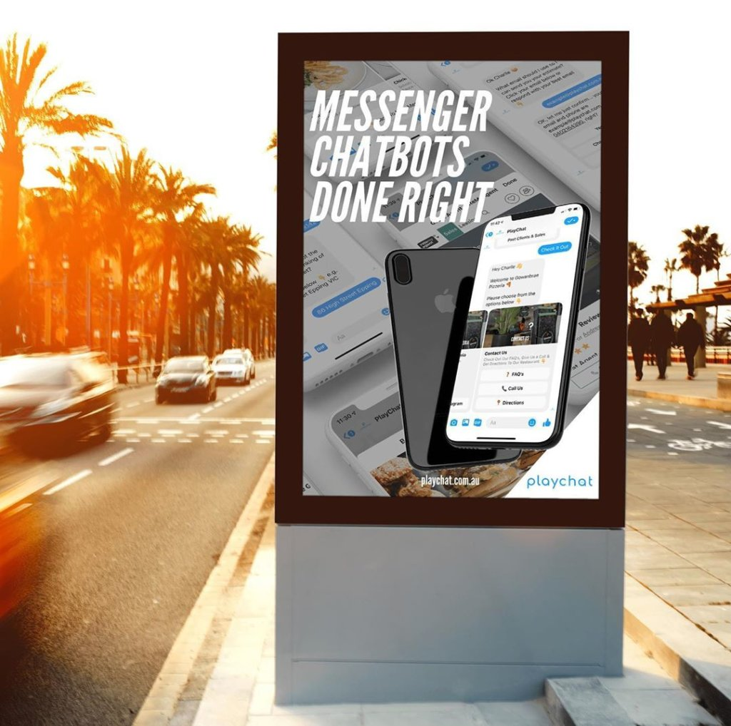 PlayChat Facebook Messenger Chatbot Advertisement On Side Road